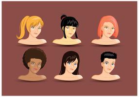 Vecteur tête libre féminin