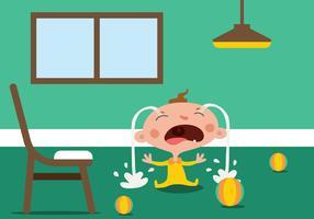 Illustration vectorielle de dessin animé bébé pleure