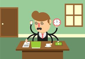 Homme d'affaires stressé multitâche vecteur