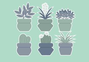 Plantes en pot de vecteur