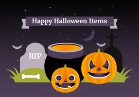 Collection d'éléments de vecteur Halloween plat gratuit