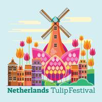 Défilé de fleurs au Pays-Bas ou aux Pays-Bas Festival des tulipes vecteur
