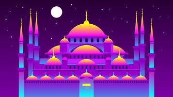 Vaporwave Istanbul bleu mosquée vecteur