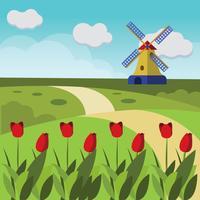 Belles fleurs de tulipe vecteur