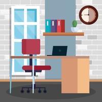 scène de travail avec bureau et ordinateur