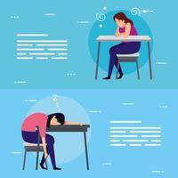 scènes de femmes fatiguées dans le jeu de bannière de lieu de travail vecteur