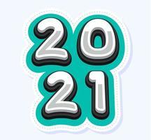 vecteur bonne année 2021 carte de voeux mignonne pour les enfants. lettres de l'alphabet drôle, chiffres, symboles. la police multicolore contient un style graphique