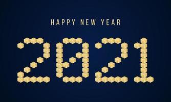 typographie de bloc de vecteur or bonne année 2021. illustration de carte de voeux de vacances. affiches géométriques du nouvel an comme tableau de bord électronique.