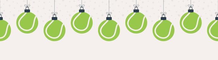 joyeux noël bowling seamless horizontal. accrocher sur une boule de bowling de dessin animé plat fil comme une boule de Noël sur fond horizontal blanc. illustration vectorielle de sport. vecteur