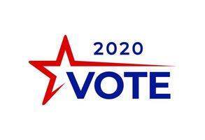 texte de vote des États-Unis. illustration vectorielle du jour de l'élection présidentielle aux états-unis débat du président vote 2020. conception de bannière électorale. jour d'élection de vecteur de flyer politique