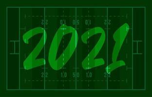 Carte de voeux de bonne année 2021 sur le terrain de football américain avec lettrage. fond de terrain de rugby créatif pour la célébration de Noël et du nouvel an. carte de voeux de sport vecteur