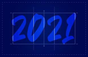 Carte de voeux de terrain de volleyball de bonne année 2021 avec lettrage. fond de terrain de volley-ball créatif pour la célébration de Noël et du nouvel an. carte de voeux de sport vecteur