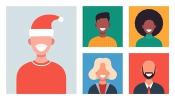 fenêtres Web avec différentes personnes discutant par vidéoconférence. des hommes et des femmes souriants travaillent et communiquent à distance. réunion de famille ou d'amis de Noël en ligne. illustration vectorielle au design plat