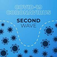 covid-19 deuxième vague. graphique montrant l'ampleur de la deuxième vague d'infection à coronavirus. illustration vectorielle stock