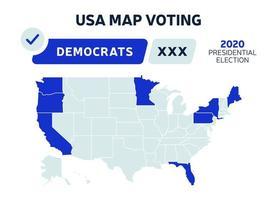 Carte des résultats de l'élection présidentielle des États-Unis pour les démocrates. vote sur la carte des États-Unis. Carte de l'élection présidentielle de chaque État votes électoraux américains montrant les républicains ou démocrates infographie vectorielle politique