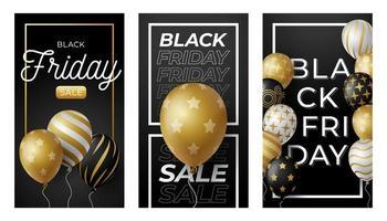 bannière horizontale de vente vendredi noir avec des ballons brillants noirs, blancs et or sur fond noir et doré avec place pour le texte. illustration vectorielle.