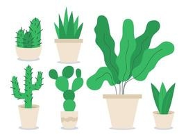 ensemble d'objets vectoriels de couleur plate différentes plantes d'intérieur. décoration pour bureau à domicile. fleur en pot. Variété de plantes en pot 2d illustrations de dessins animés isolés sur fond blanc vecteur