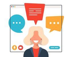 femme d & # 39; affaires discutant pendant un appel vidéo vecteur