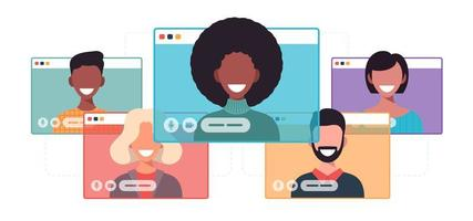 Femme d'affaires africaine bavardant pendant l'appel vidéo femme d'affaires avec discours de bulle de chat dans la fenêtre de l'ordinateur communication conférence en ligne concept portrait illustration vectorielle plane dessin animé horizontal vecteur