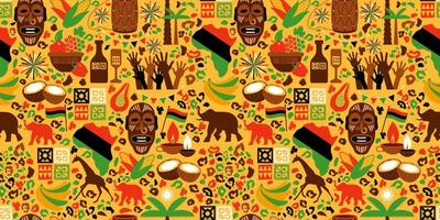 modèle sans couture d'éléments africains vecteur