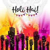 carte de célébration joyeux holi dessinée à la main aquarelle