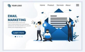 modèle de page de destination des services de marketing par e-mail avec un homme d'affaires criant sur un mégaphone pour la promotion. concept de conception de page Web plat moderne pour site Web et site Web mobile. illustration vectorielle