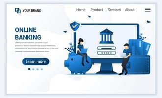 illustration vectorielle de la banque en ligne, concept d'investissement financier en ligne. conception de modèle de page de destination web plat moderne pour site Web et site Web mobile. style de bande dessinée plat
