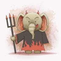 l'éléphant porte un costume de diable robe maléfique vecteur