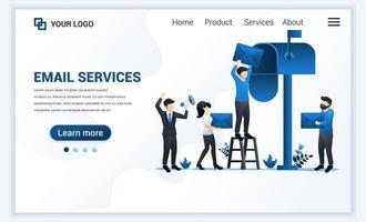 modèle de page de destination de marketing par e-mail, services de messagerie avec caractères. concept de conception de page Web plat moderne pour site Web et site Web mobile. illustration vectorielle
