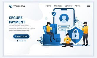illustration vectorielle du concept de paiement sécurisé ou de transfert d'argent avec des personnages. conception de modèle de page de destination web plat moderne pour site Web et site Web mobile. style de bande dessinée plat