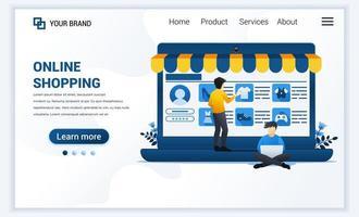 illustration vectorielle du concept de magasinage en ligne. un homme achète un produit dans une boutique en ligne. conception de modèle de page de destination web plat moderne pour site Web et site Web mobile. style de bande dessinée plat