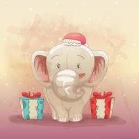 bébé éléphant heureux d'obtenir un cadeau de Noël