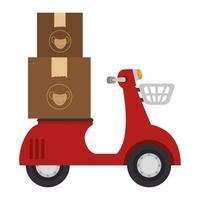Boîtes de masques sur une moto de livraison vecteur