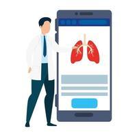 médecine en ligne avec un médecin sur le smartphone
