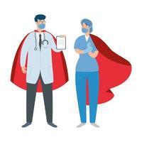 travailleurs de la santé portant des masques faciaux en tant que super héros