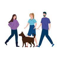 les gens promènent le chien ensemble