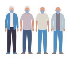 hommes âgés avec des masques contre la conception de covid 19 vecteur