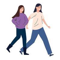 femmes heureuses marchant ensemble