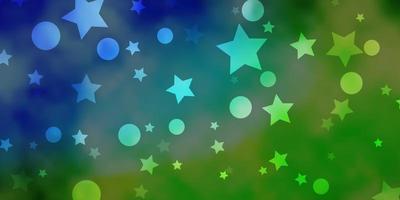 fond de vecteur bleu clair, vert avec des cercles, des étoiles.