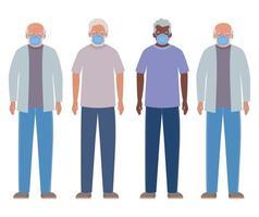 hommes âgés avec des masques contre la conception de covid 19