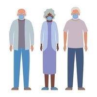 hommes et femmes âgés avec des masques contre la conception de vecteur de covid 19