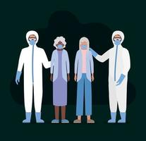 femmes âgées avec des masques et des médecins avec des combinaisons de protection contre la conception de vecteur covid 19