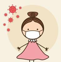 Fille enfant avec masque contre la conception de vecteur de virus ncov 2019