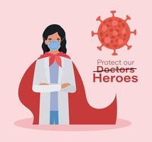 femme médecin héros avec cape contre la conception de vecteur 2019