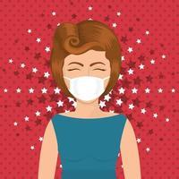 femme de pop art avec masque sur la conception de vecteur de fond pointu et étoilé