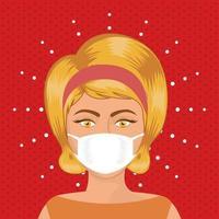 femme pop art avec masque sur fond pointu vector design