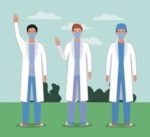 hommes médecins avec des masques contre la conception de vecteur de virus ncov 2019