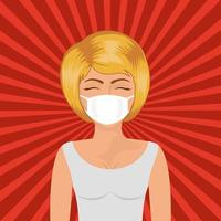 femme pop art avec masque sur fond rayé vector design