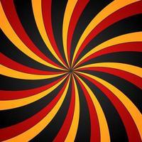 fond radial tourbillon spirale noir, rouge et jaune. fond de vortex et d'hélice. illustration vectorielle