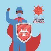Homme médecin héros avec cape et bouclier contre la conception de vecteur de virus ncov 2019